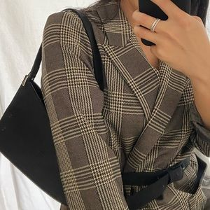 H&M Brown Plaid Blazer -Size 10 (NWOT)